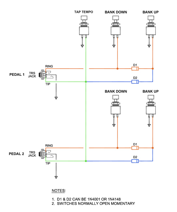 aux switcher Normally Open Momentary Switch Diagram the bank down switches and tap tempo switch work like a charm on both pedal but the bank up switches to both pedals cause a problem in that when either is Normally Open Momentary Switch with Two Wire Leads